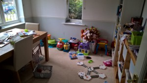 Before - muddled playroom and dining room